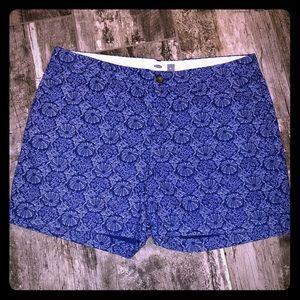 Royal Blue print Old Navy flat front shorts